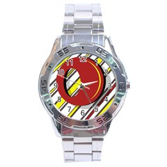 Red And Yellow Design Stainless Steel Analogue Watch by Valentinaart