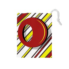 Red And Yellow Design Drawstring Pouches (medium)  by Valentinaart