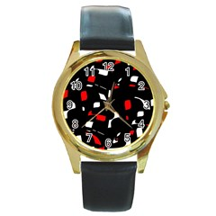 Red, Black And White Pattern Round Gold Metal Watch by Valentinaart