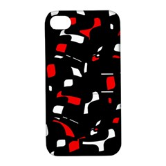 Red, Black And White Pattern Apple Iphone 4/4s Hardshell Case With Stand by Valentinaart