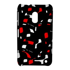 Red, black and white pattern Nokia Lumia 620 by Valentinaart