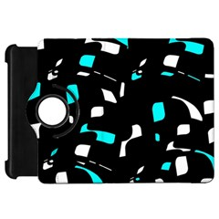 Blue, Black And White Pattern Kindle Fire Hd Flip 360 Case by Valentinaart