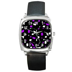 Purple, Black And White Pattern Square Metal Watch by Valentinaart