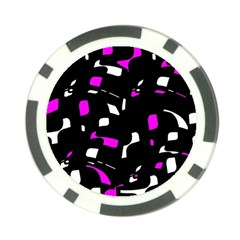 Magenta, Black And White Pattern Poker Chip Card Guards by Valentinaart