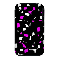 Magenta, black and white pattern Apple iPhone 3G/3GS Hardshell Case (PC+Silicone) by Valentinaart