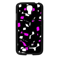 Magenta, Black And White Pattern Samsung Galaxy S4 I9500/ I9505 Case (black) by Valentinaart