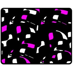 Magenta, black and white pattern Double Sided Fleece Blanket (Medium)  by Valentinaart