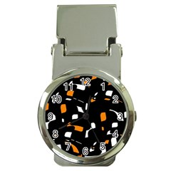 Orange, Black And White Pattern Money Clip Watches by Valentinaart
