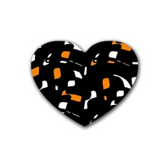 Orange, black and white pattern Heart Coaster (4 pack)  by Valentinaart