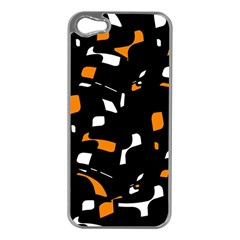 Orange, Black And White Pattern Apple Iphone 5 Case (silver) by Valentinaart
