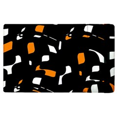 Orange, Black And White Pattern Apple Ipad 3/4 Flip Case by Valentinaart