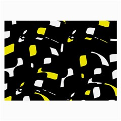 Yellow, Black And White Pattern Large Glasses Cloth (2 Side) by Valentinaart