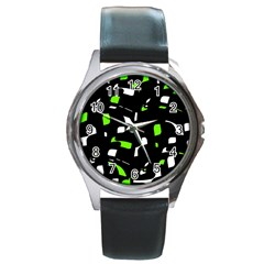 Green, Black And White Pattern Round Metal Watch by Valentinaart