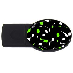 Green, Black And White Pattern Usb Flash Drive Oval (2 Gb)  by Valentinaart