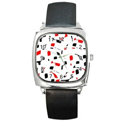 White, Red And Black Pattern Square Metal Watch by Valentinaart