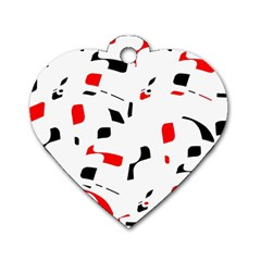 White, Red And Black Pattern Dog Tag Heart (one Side) by Valentinaart