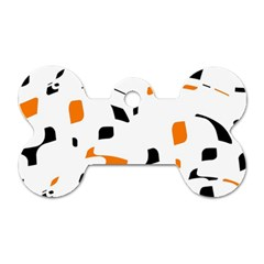 Orange, White And Black Pattern Dog Tag Bone (two Sides) by Valentinaart