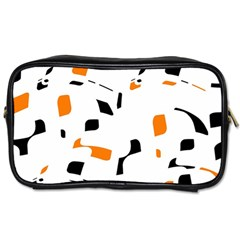 Orange, White And Black Pattern Toiletries Bags by Valentinaart