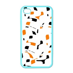 Orange, White And Black Pattern Apple Iphone 4 Case (color) by Valentinaart