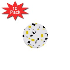 Yellow, Black And White Pattern 1  Mini Buttons (10 Pack)  by Valentinaart