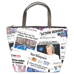 Hillary 2016 Historic Front Pages & Headlines Bucket Handbag by blueamerica