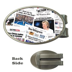 Hillary 2016 Historic Newspaper Collage Money Clips (oval)  by blueamerica