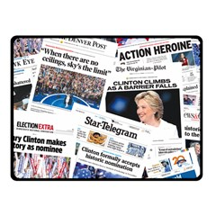 Hillary 2016 Historic Newspaper Collage Fleece Blanket (small) by blueamerica
