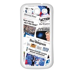Hillary 2016 Historic Newspaper Collage Samsung Galaxy S3 Back Case (white) by blueamerica