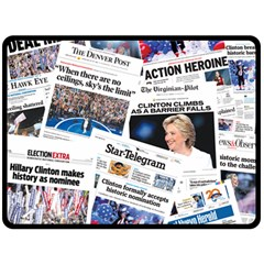 Hillary 2016 Historic Newspaper Collage Double Sided Fleece Blanket (large)  by blueamerica