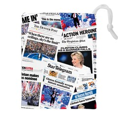 Hillary 2016 Historic Newspaper Collage Drawstring Pouches (xxl) by blueamerica