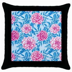 Blue & Pink Floral Throw Pillow Case (black) by TanyaDraws