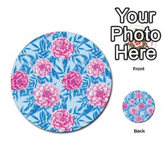 Blue & Pink Floral Multi Purpose Cards (round)  by TanyaDraws