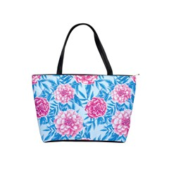 Blue & Pink Floral Shoulder Handbags by TanyaDraws