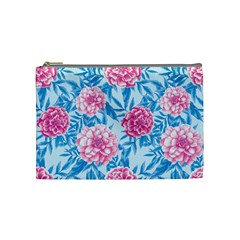 Blue & Pink Floral Cosmetic Bag (medium)  by TanyaDraws