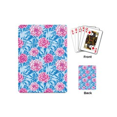 Blue & Pink Floral Playing Cards (mini)  by TanyaDraws