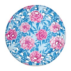 Blue & Pink Floral Round Filigree Ornament (2side) by TanyaDraws