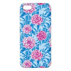 Blue & Pink Floral Iphone 5s/ Se Premium Hardshell Case by TanyaDraws