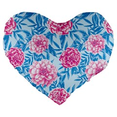 Blue & Pink Floral Large 19  Premium Flano Heart Shape Cushions by TanyaDraws