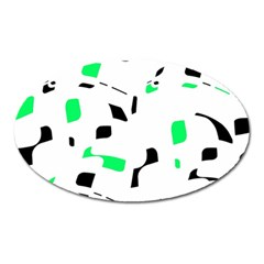 Green, Black And White Pattern Oval Magnet by Valentinaart