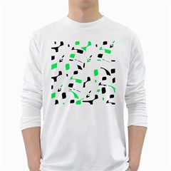 Green, black and white pattern White Long Sleeve T-Shirts by Valentinaart