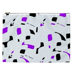 Purple, Black And White Pattern Cosmetic Bag (xxl)  by Valentinaart