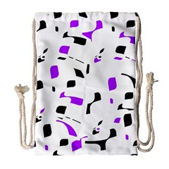 Purple, Black And White Pattern Drawstring Bag (large) by Valentinaart