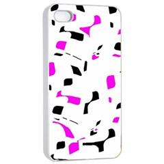 Magenta, Black And White Pattern Apple Iphone 4/4s Seamless Case (white) by Valentinaart