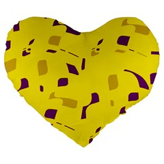 Yellow And Purple Pattern Large 19  Premium Flano Heart Shape Cushions by Valentinaart