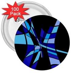 Blue abstart design 3  Buttons (100 pack)  by Valentinaart