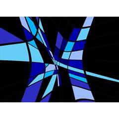 Blue Abstart Design Birthday Cake 3d Greeting Card (7x5) by Valentinaart
