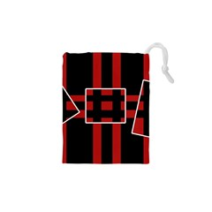 Red and black geometric pattern Drawstring Pouches (XS)  by Valentinaart