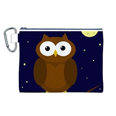 Cute Owl Canvas Cosmetic Bag (l) by Valentinaart