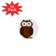 Cute Transparent Brown Owl 1  Mini Buttons (10 Pack)  by Valentinaart