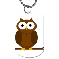 Cute Transparent Brown Owl Dog Tag (two Sides) by Valentinaart
